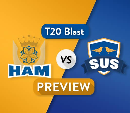 HAM vs SUS Dream11 Team Prediction and Probable XI: Preview | Chris Jordan added to squad