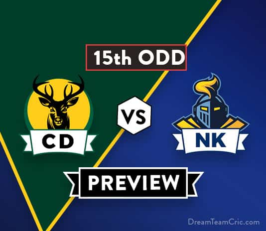 CD vs NK 15th ODD Dream11 Team Prediction: Preview| Ben Wheeler will not play