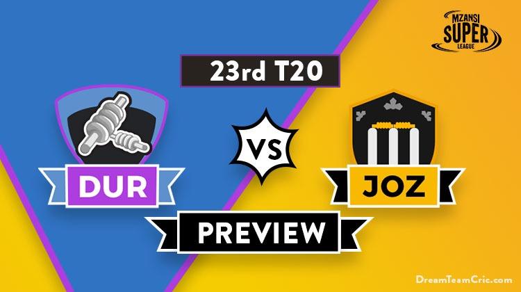 DUR vs JOZ Dream11 Team